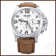 Genuine Leather-Brown Megir 3406 Chronograph Wristwatches | Watches for sale in Greater Accra, Achimota