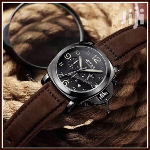 Coffee Leather Megir MENS Chronograph Wristwatches