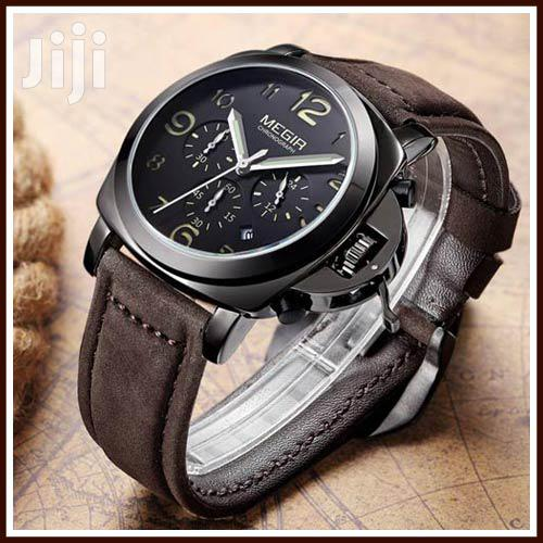 Coffee Leather Megir MENS Chronograph Wristwatches   Watches for sale in Achimota, Greater Accra, Ghana