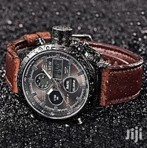 Men's Quartz Analog/Digital Stainless Steel Wrist Fashion Watch, Brown