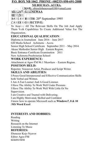 Curriculum Vitae | Internship CVs for sale in Greater Accra, Achimota