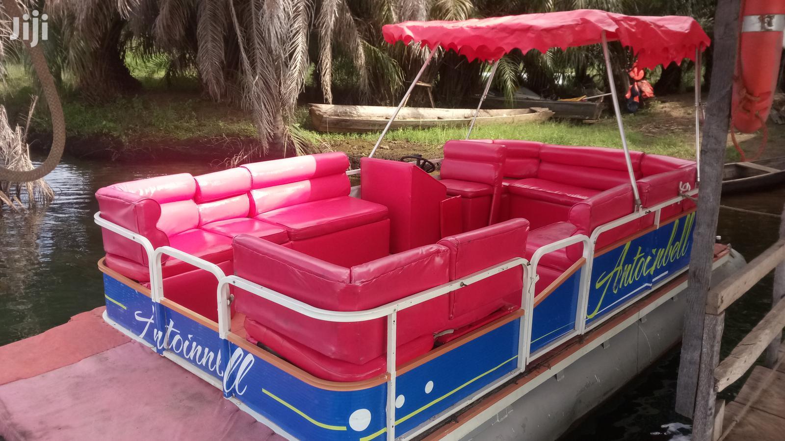 Archive: Vintage Pontoon Boat. The Executive Cruiser And 2 Jet Ski