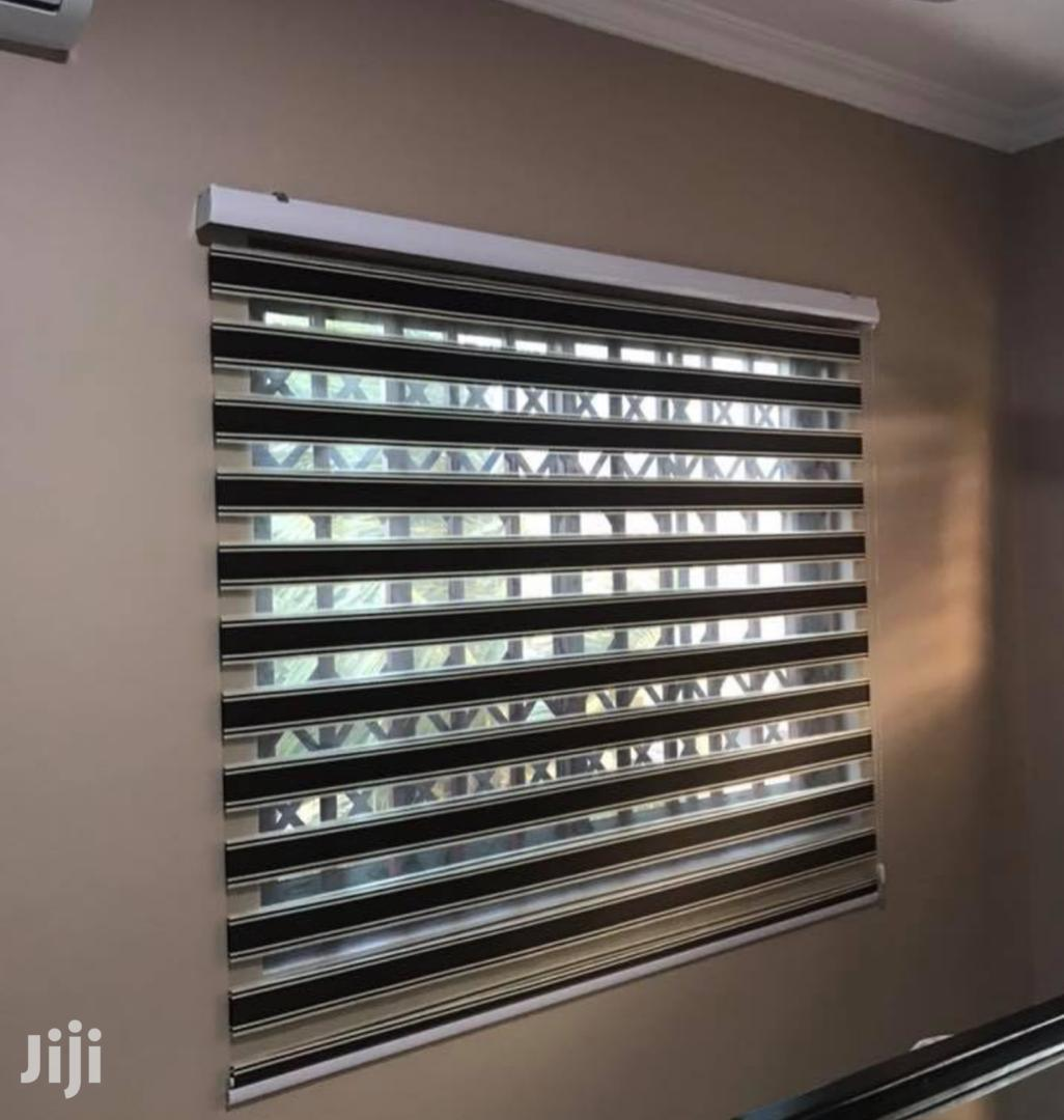 Classy Brown With Cream Lining Zebra Blinds for Homes and Offices