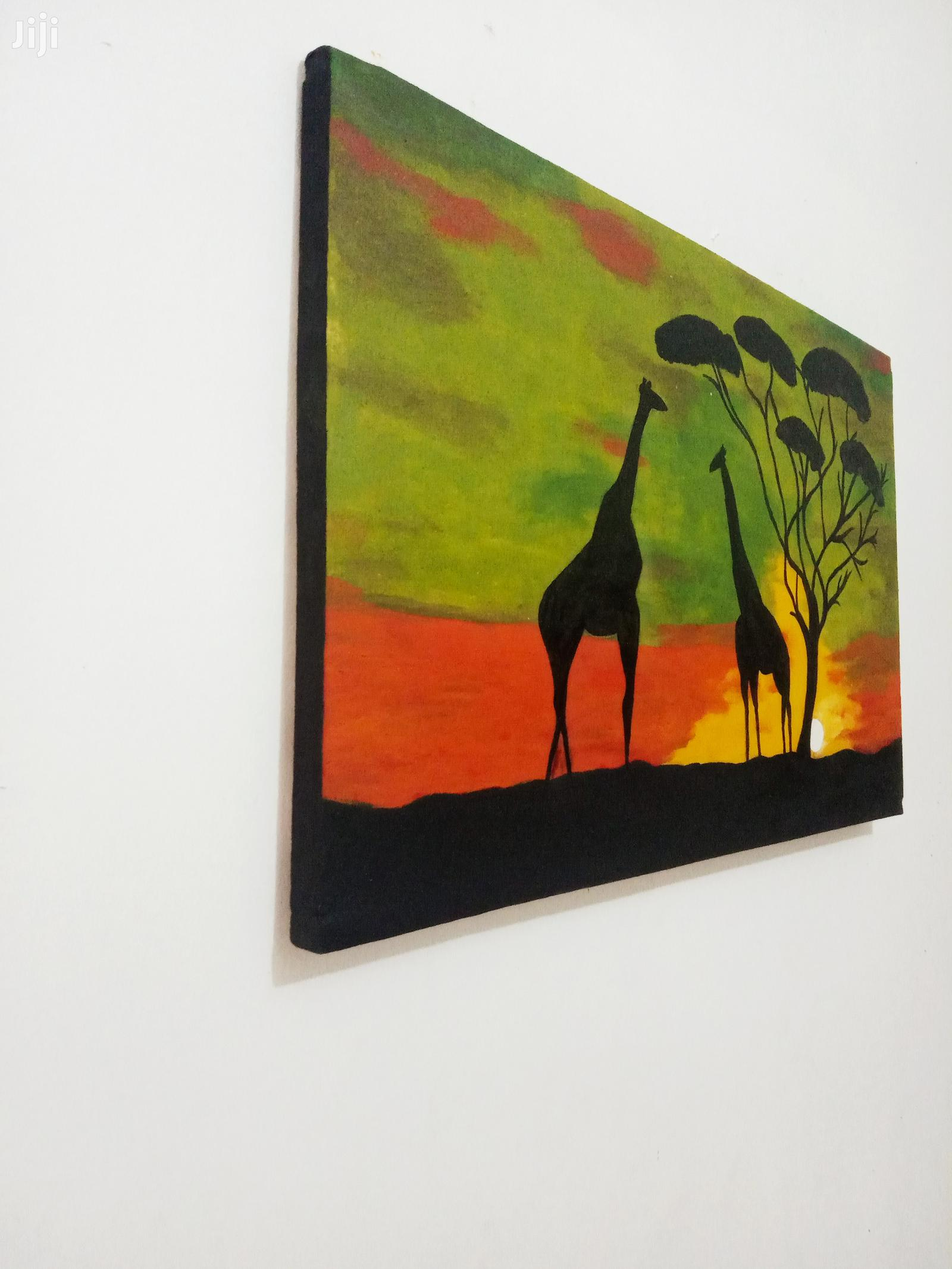 Sunset Africa On Black And Green Canvas