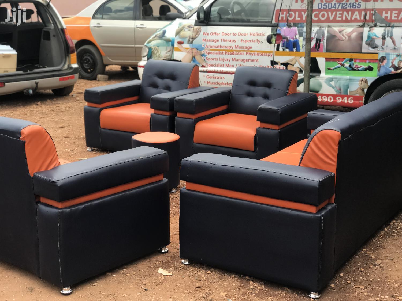 Quality Orange And Blue Black Leather Sofa