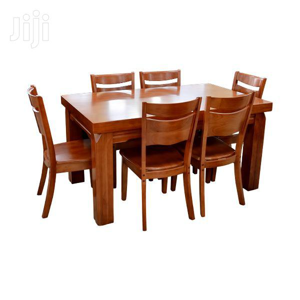 7pcs Wooden Dining Table + 6 Chairs Set