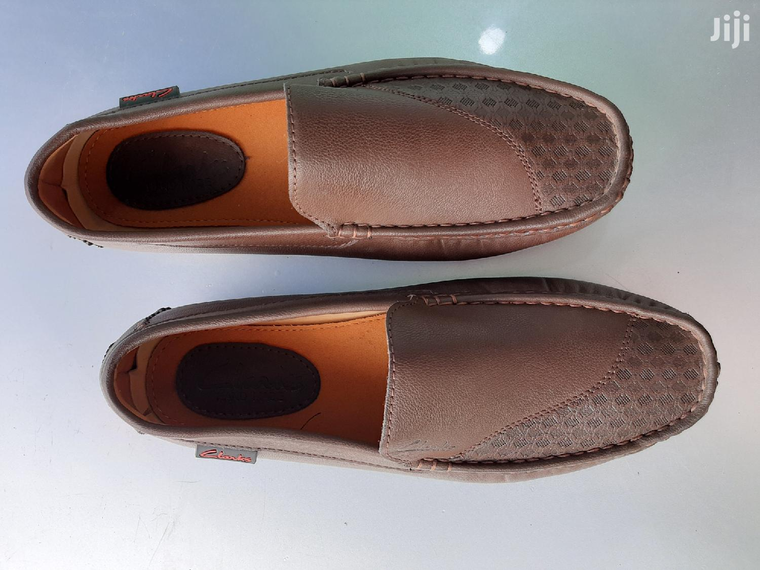 Patent Leather Clarks Loafers-Brown-Sz 40