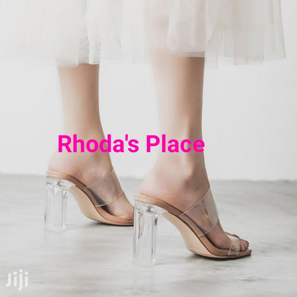 Transparent PVC Crystal Heel Half Sandals   Shoes for sale in Accra new Town, Greater Accra, Ghana