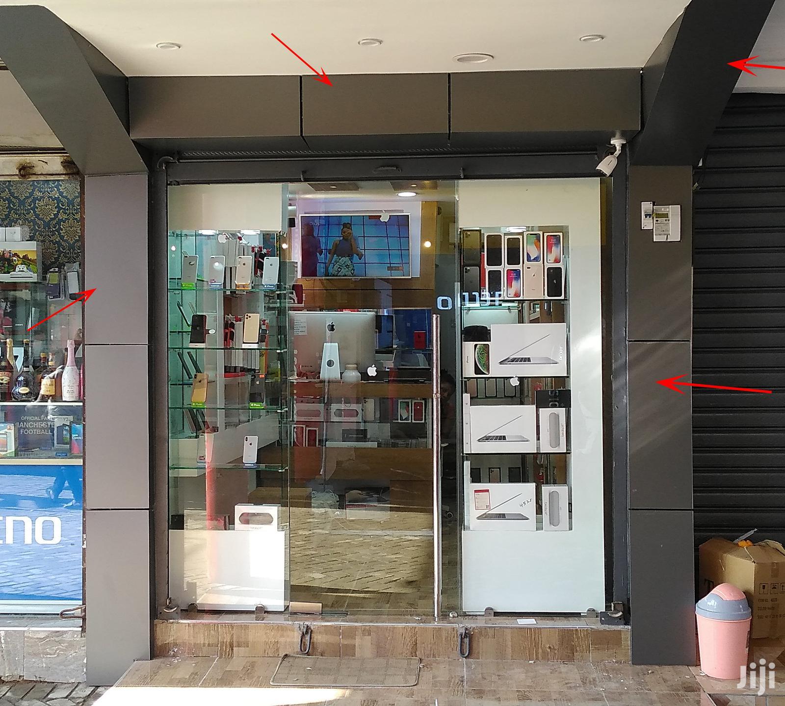 Shop/Office Pillars Aluconbond Grooving