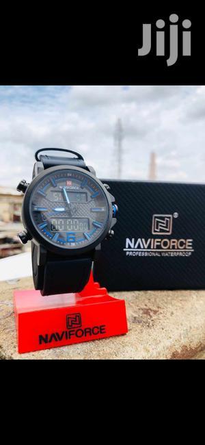 Naviforce Classic Multifunction Chronograph Analog Digital Leather