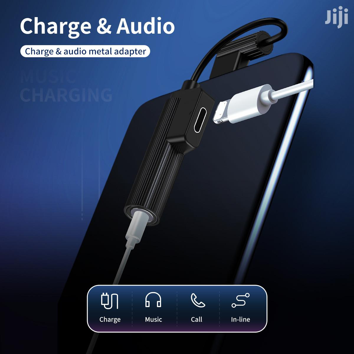 Rock L-Shape Lightning to 3.5 Mm Charge and Audio 2 in 1 | Accessories for Mobile Phones & Tablets for sale in Ga East Municipal, Greater Accra, Ghana
