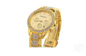 Casual Diamond Stud Quartz Watch (Gold)