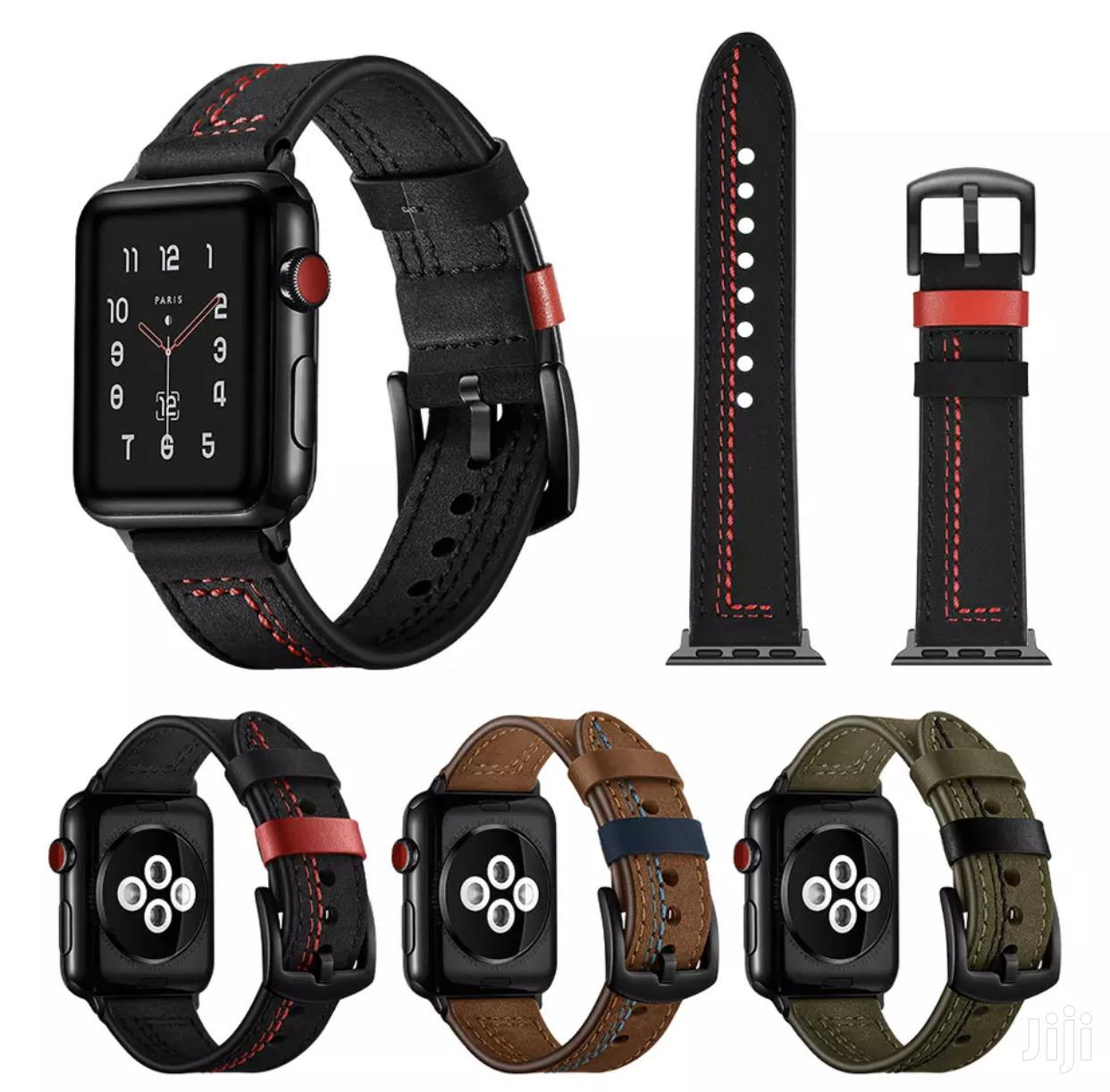 Bandream Genuine Leather Strap Band For Apple Watch Series 1 2 3 4 5 | Smart Watches & Trackers for sale in Accra Metropolitan, Greater Accra, Ghana