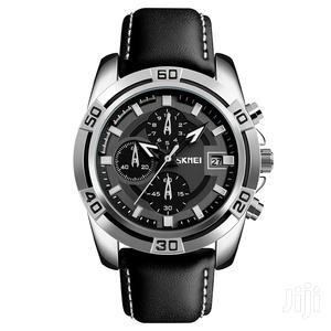 SKMEI 9156 Leather Military Quartz Wristwatch