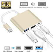 Type C USB 3.1 To USB-C 4K HDMI USB 3.0 Adapter Hub - Gold | Accessories & Supplies for Electronics for sale in Greater Accra, Akweteyman