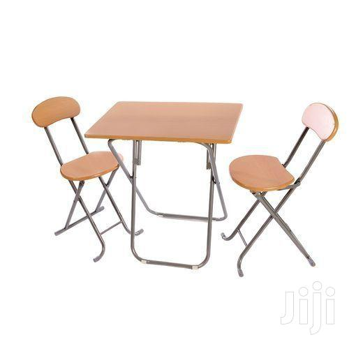 Folding Dining/Study Table With 2 Chairs - Brown