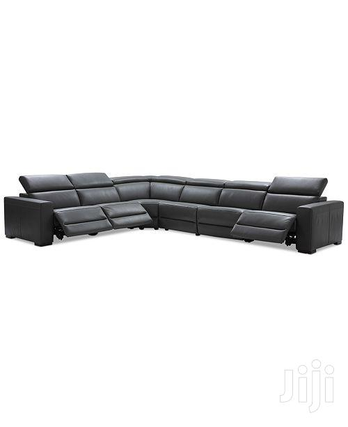 Nevio 6pc Leather L-Shaped Sectional Sofa With 2 Power Recliner