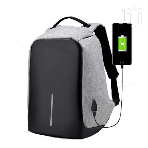 Anti - Theft Waterproof With USB Backpack - Black/Grey