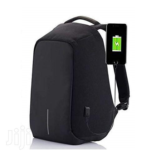 Anti - Theft Waterproof With USB Backpack - Black