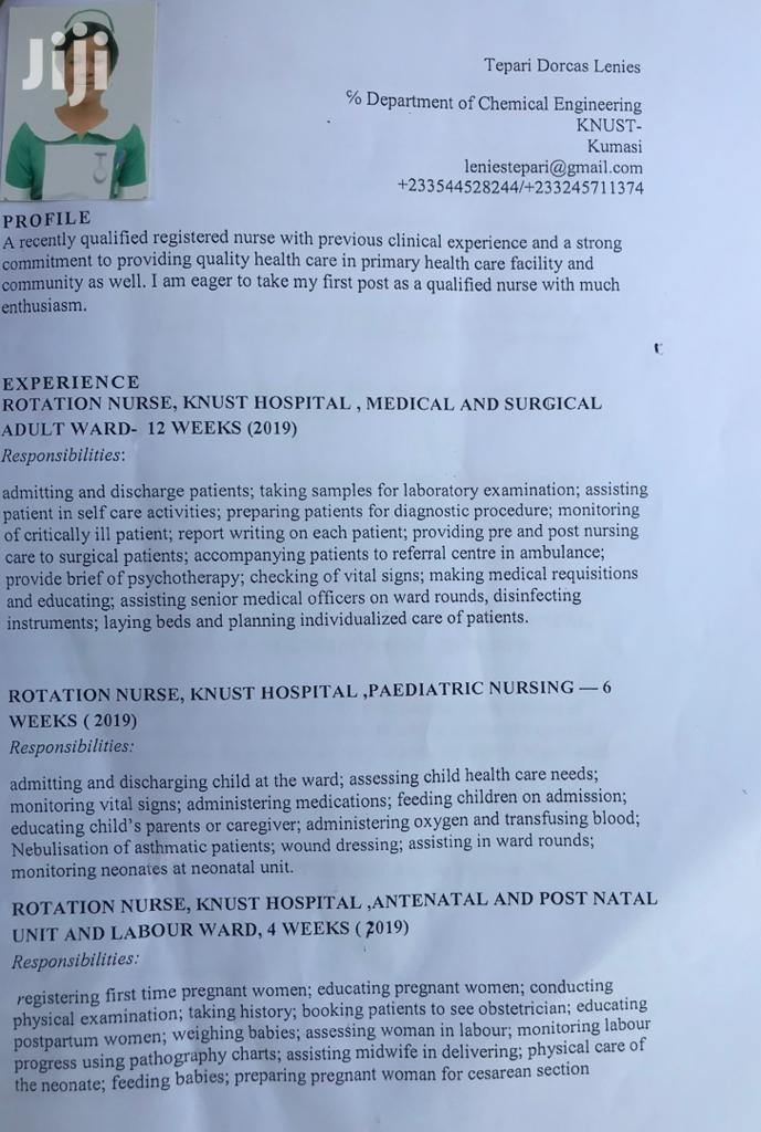 Registered General Nurse | Healthcare & Nursing CVs for sale in Ejisu-Juaben Municipal, Ashanti, Ghana