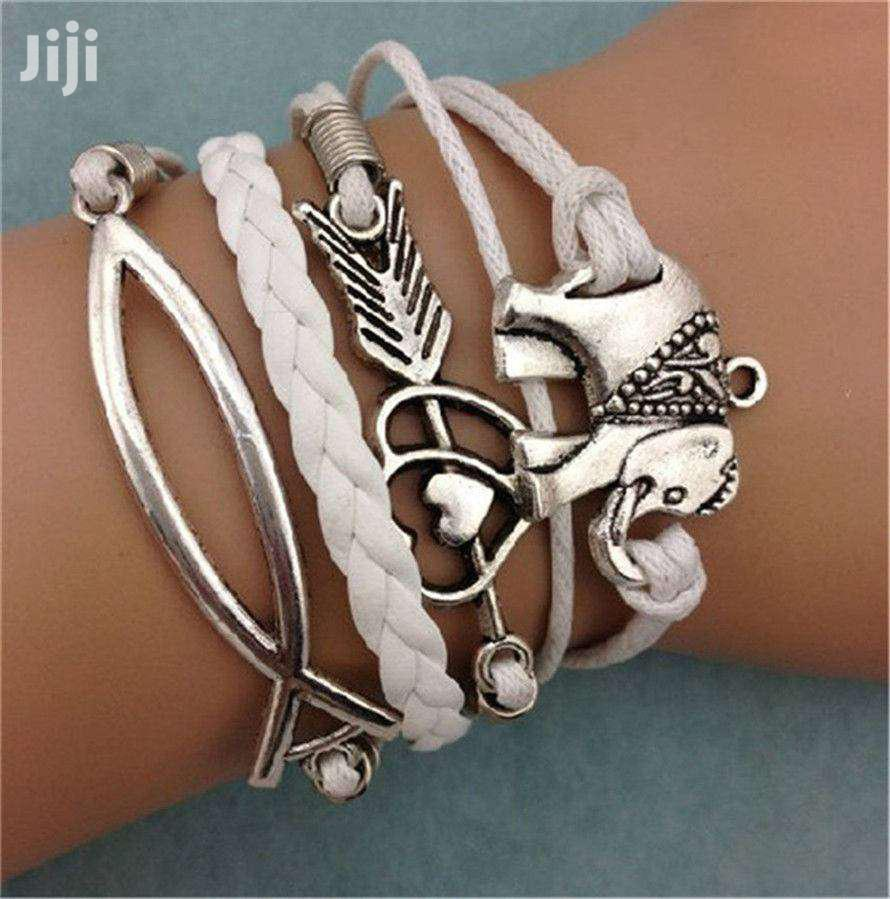 Friendship Leather Charm Bracelet Plated Silver