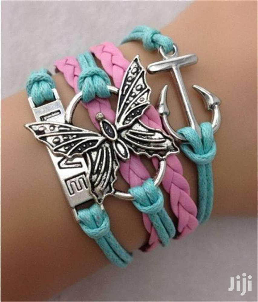 LOVE Antique Silver Leather Charm Bracelet Butterfly