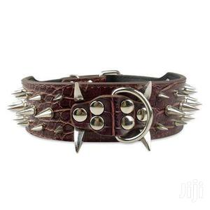 Dogs Leather Collar With Spikes