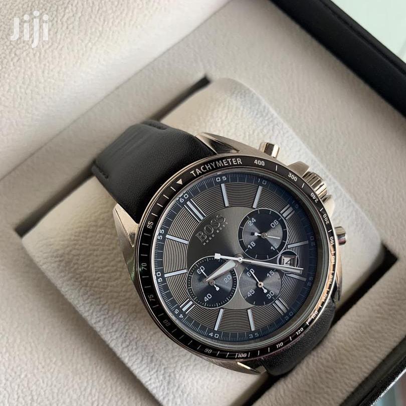 Archive: Black Leather Hugo Boss Watch