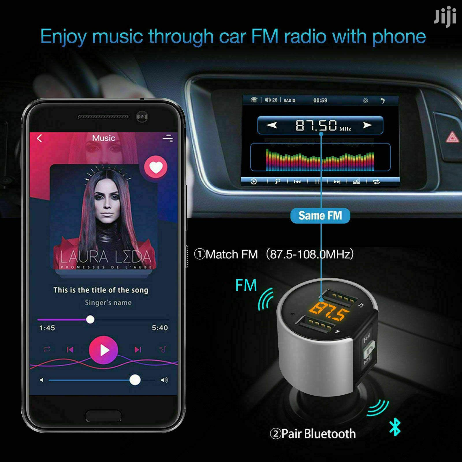 Bluetooth FM Transmitter Plus Free HP0-0053-RD Bluetooth | Vehicle Parts & Accessories for sale in Roman Ridge, Greater Accra, Ghana