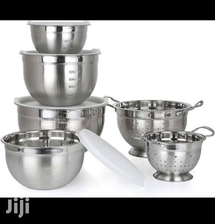 Member's Mark 6-Piece Stainless-Steel Mixing Bowl and Colander Set
