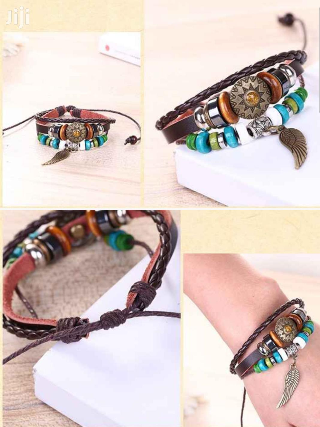 Multilayer Braided Leather Wrap Bracelet With Beads   Jewelry for sale in Tema Metropolitan, Greater Accra, Ghana