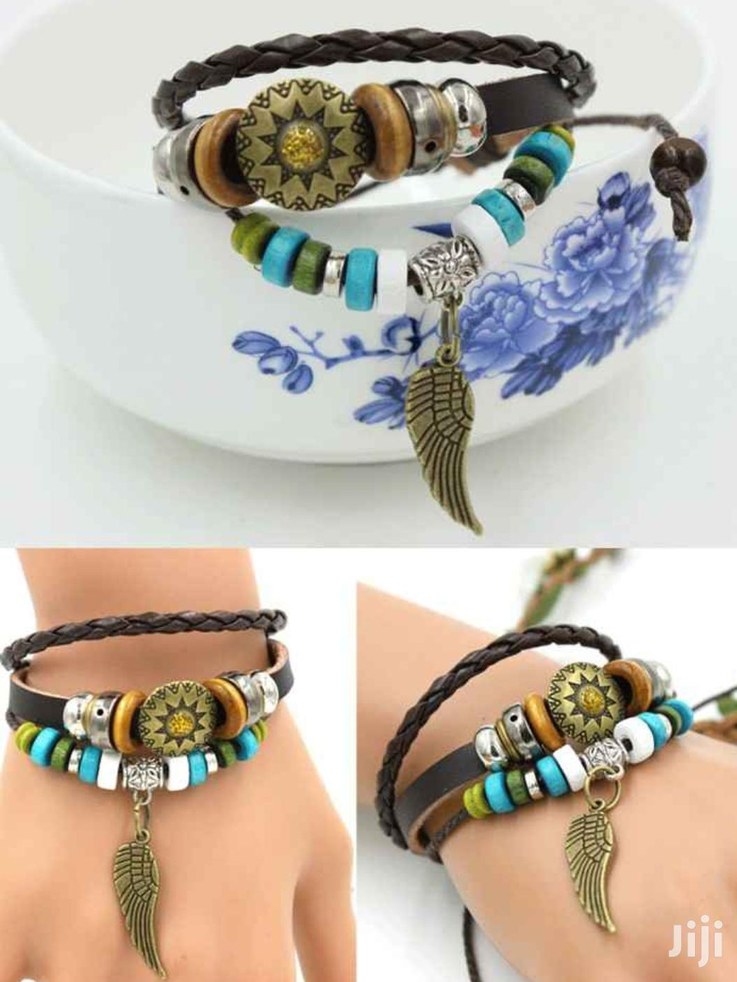 Multilayer Braided Leather Wrap Bracelet With Beads