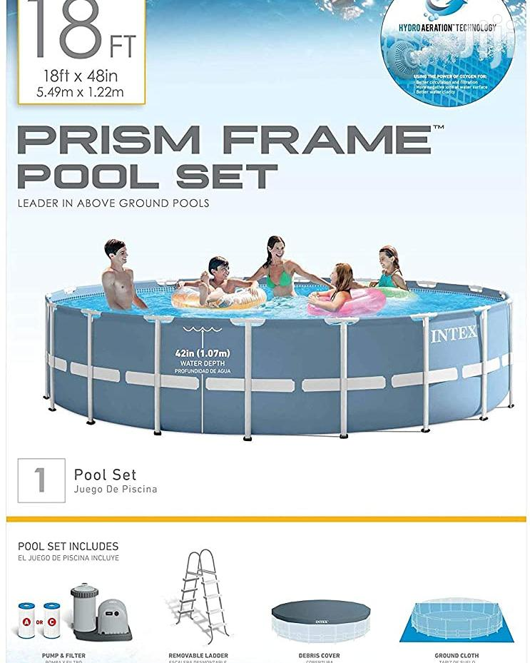 18ft Intex Swimming Pool Metal Frame Ladder Included