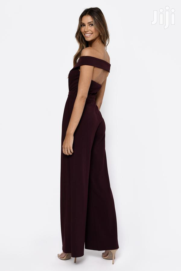 Archive: No Tears Left to Cry Wine Off Shoulder Jumpsuit