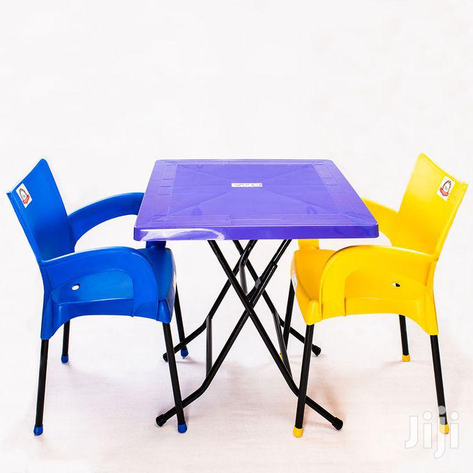 Plastic Foldable Dining/Study Table With 2 Chairs