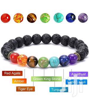 7 Chakra Healing Natural Lava Stone Tiger Eye Bracelet | Jewelry for sale in Eastern Region, Lower Manya Krobo