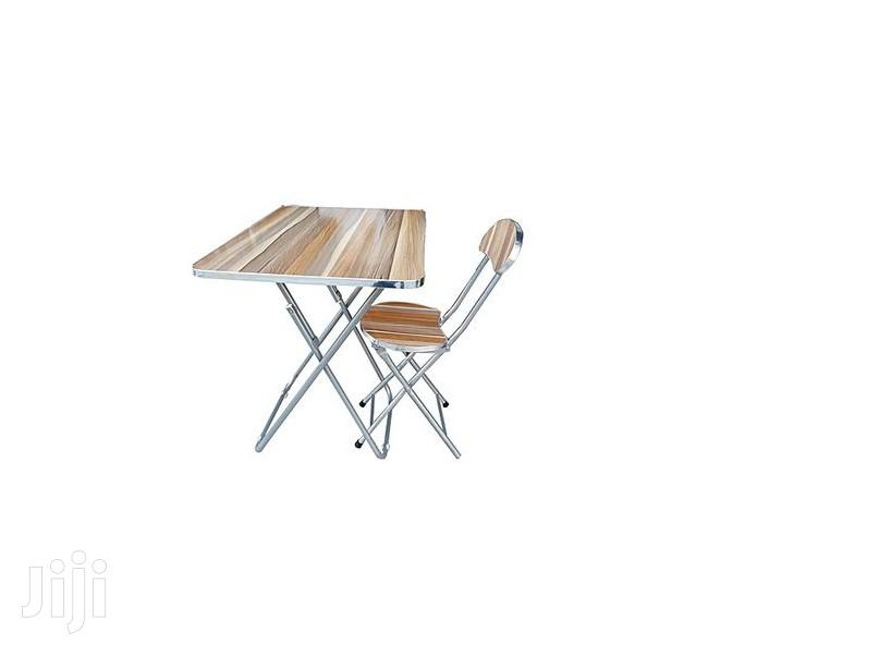Folding Dining/Study Table and Chair Set - Light Brown