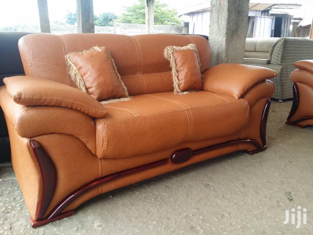 Brown Leather Sofa Set | Furniture for sale in Kumasi Metropolitan, Ashanti, Ghana