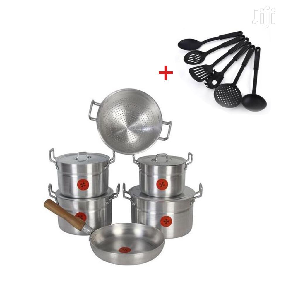 6 Set Aluminium Cooking Utensil And Plastic Spoon & Fork Set