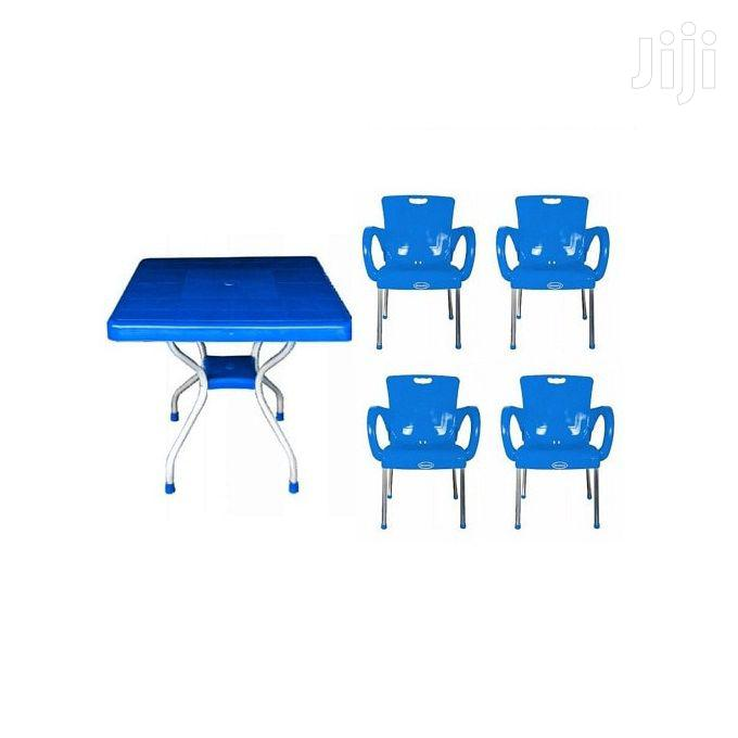 Plastic Foldable Dining/Study Table With 4 Chairs - Blue