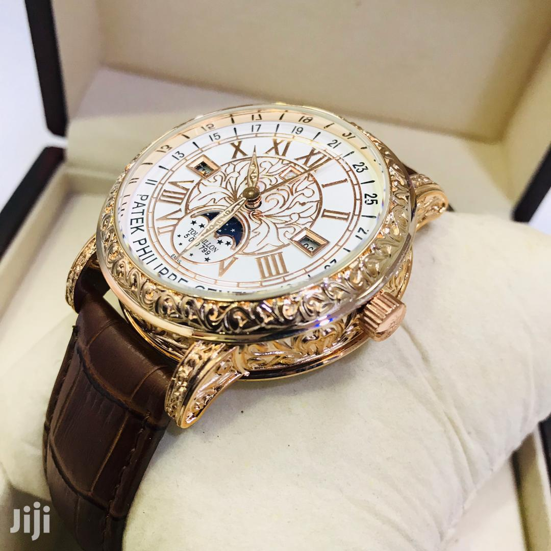 Patek Philippe Analog Dial With Brown Strap Watch