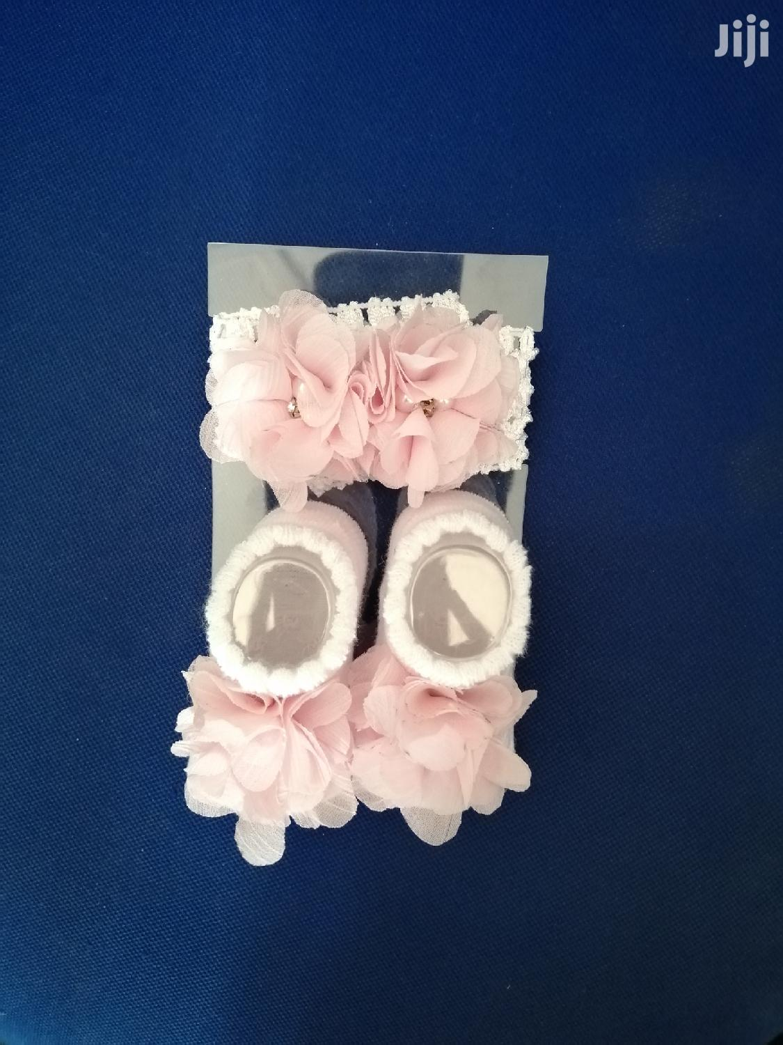 Ribbon And Baby Shoe Socks For 0 To 12 Months