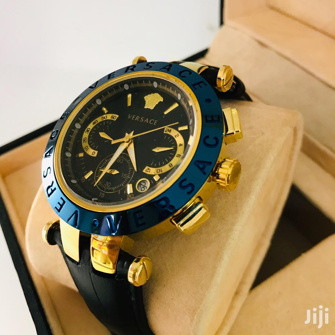Versace Branded Men Leather Strap Watch