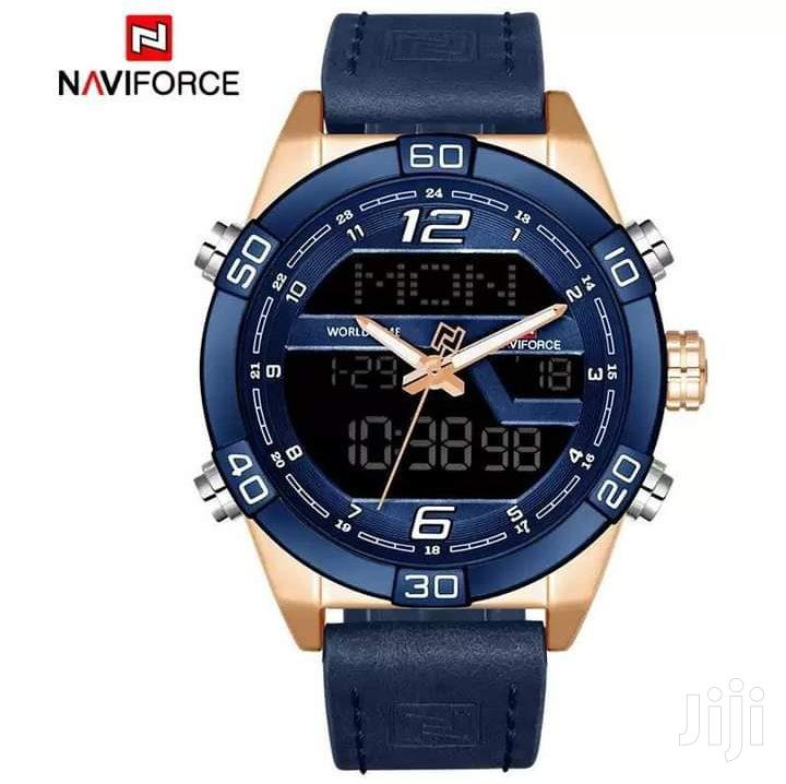 Naviforce 9128 Multifunctional Leather Watch