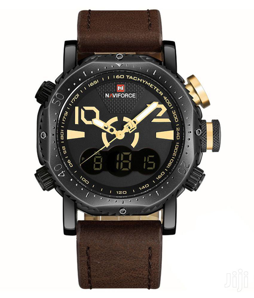 Naviforce 9094 Multifunctional Leather Watch