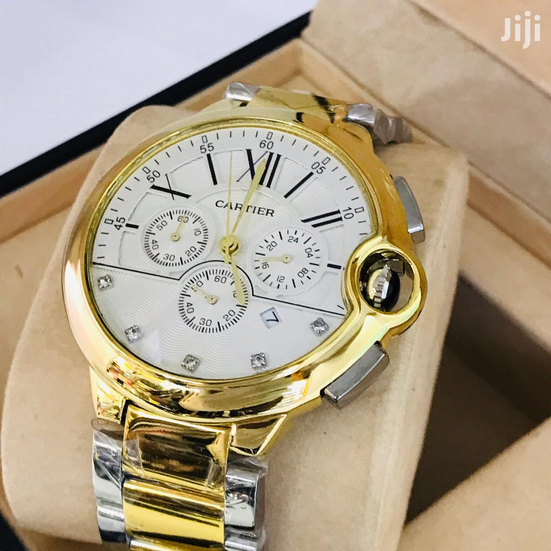 Cartier Two Toned Chronograph Chain Strap Stainless Watch
