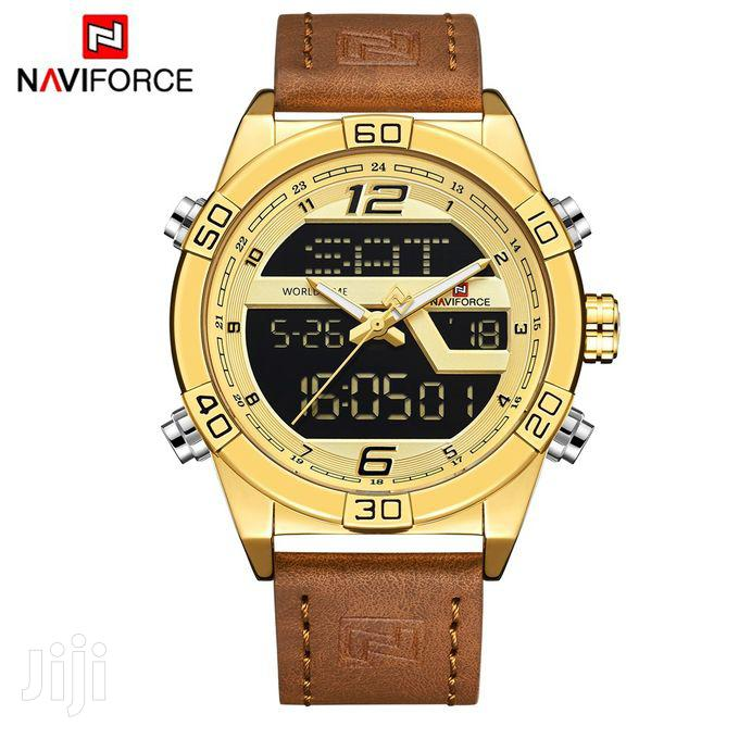 Naviforce NF9128 Dual Display Leather Strap Wrist Watch - Go | Watches for sale in Achimota, Greater Accra, Ghana