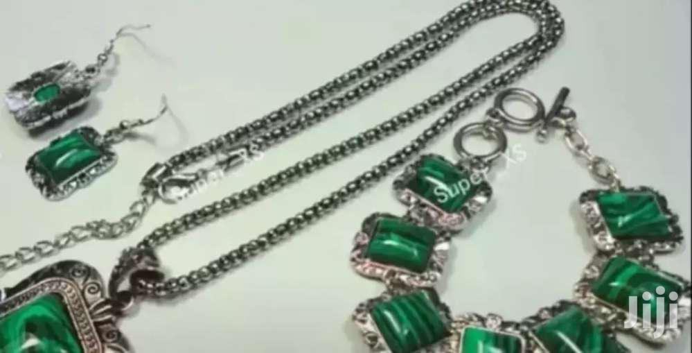 Malachite Gem Stone Necklace Bracelet and Earring Gift Set | Jewelry for sale in Adenta Municipal, Greater Accra, Ghana