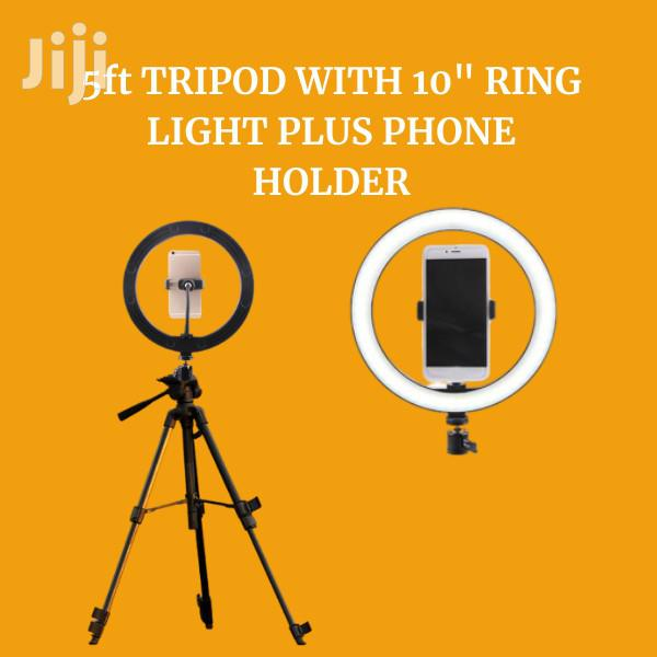 """5ft Tripod With 10"""" Ring Light Plus Phone Holder"""