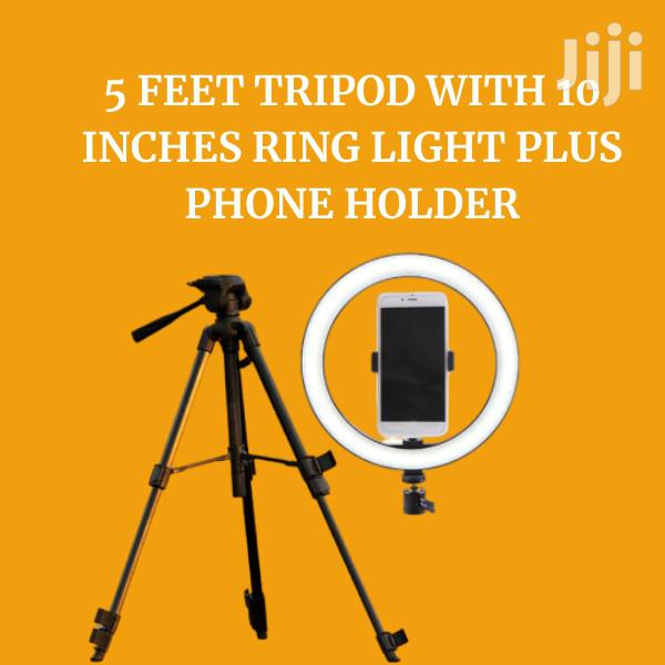 """5ft Tripod With 10"""" Ring Light Plus Phone Holder 